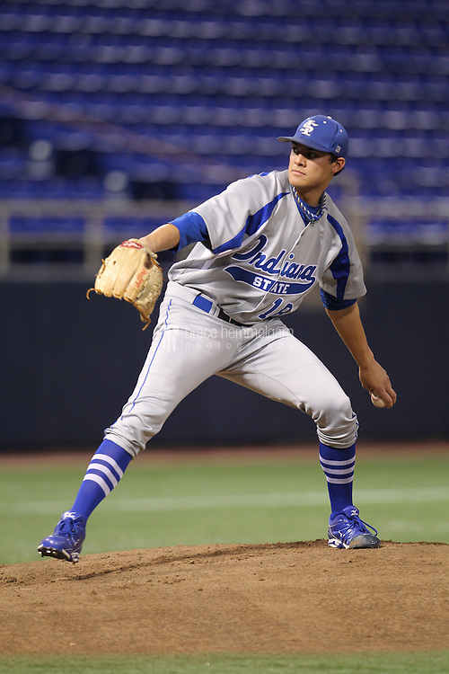 Indiana State Sycamores pitcher Sean Manaea #18 pitches during a game against the Minnesota Golden Gophers at the Metrodome on March 15, 2013 in Minneapolis, Minnesota. (Brace Hemmelgarn)
