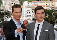 "Cannes,24.05.2012: MATHEW McCONAUGHEY AND ZAC EFRON.at ""The Paperboy""  photocall, 65th Cannes International Film Festival..Mandatory Credit Photos: ©Traverso-Photofile/NEWSPIX INTERNATIONAL..**ALL FEES PAYABLE TO: ""NEWSPIX INTERNATIONAL""**..PHOTO CREDIT MANDATORY!!: NEWSPIX INTERNATIONAL(Failure to credit will incur a surcharge of 100% of reproduction fees)..IMMEDIATE CONFIRMATION OF USAGE REQUIRED:.Newspix International, 31 Chinnery Hill, Bishop's Stortford, ENGLAND CM23 3PS.Tel:+441279 324672  ; Fax: +441279656877.Mobile:  0777568 1153.e-mail: info@newspixinternational.co.uk"