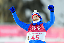 February 11, 2018 - Pyeongchang, SOUTH KOREA - 180211 Robert Johansson of Norway celebrates after winning bronze in the men's normal hill Individual ski jumping final during day one of the 2018 Winter Olympics on February 11, 2018 in Pyeongchang..Photo: Carl Sandin / BILDBYRÃ…N / kod CS / 57999_281 (Credit Image: © Carl Sandin/Bildbyran via ZUMA Press)