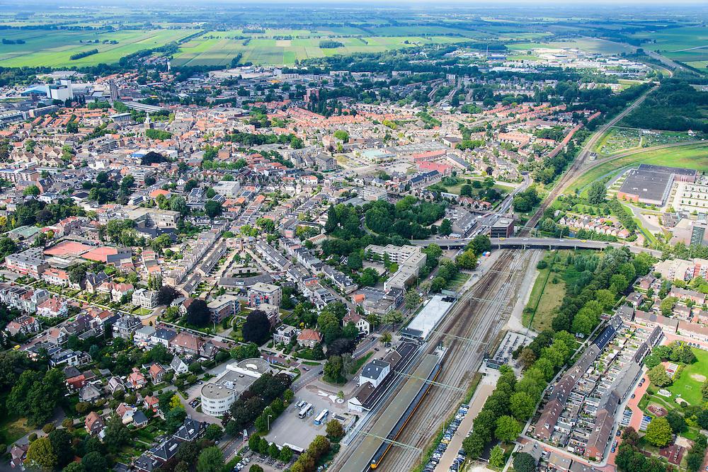 Nederland, Drenthe, Meppel, 27-08-2013;<br /> Meppel met station.<br /> luchtfoto (toeslag op standaard tarieven);<br /> aerial photo (additional fee required);<br /> copyright foto/photo Siebe Swart.