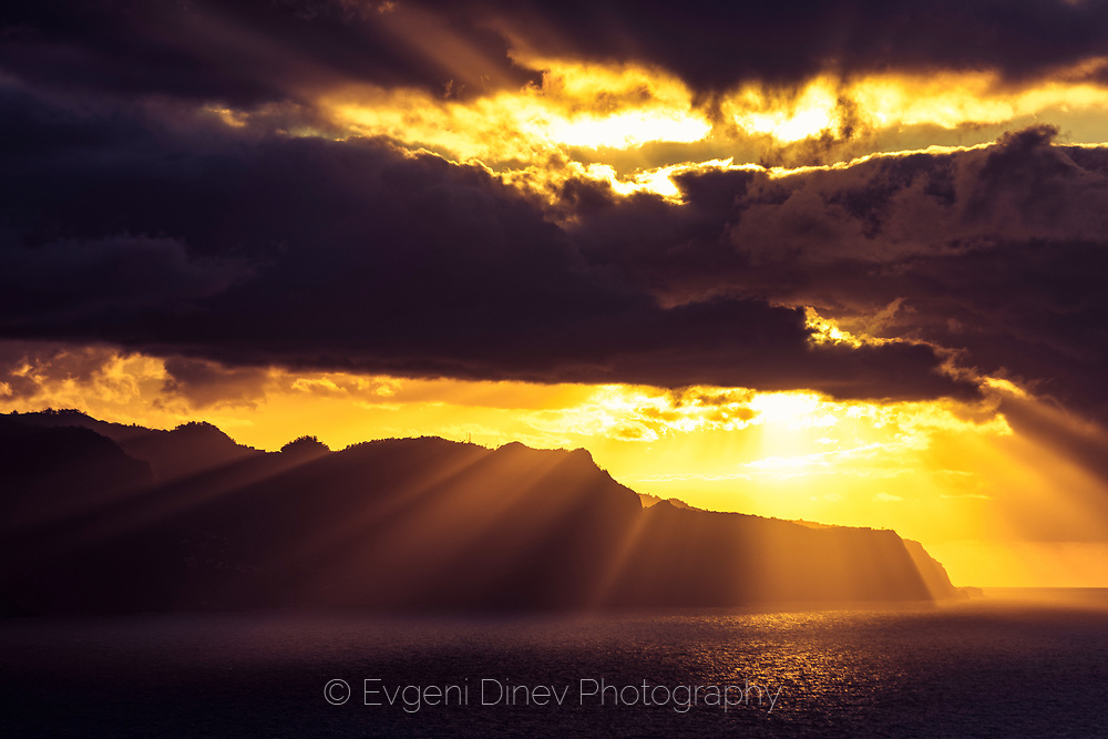 Magical sunset by the Madeira cliffs