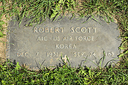 31 August 2017:   Veterans graves in Park Hill Cemetery in eastern McLean County.<br /> <br /> Robert Scott A1C US Air Force  Korea  Dec 7 1931  Sep 24 1983