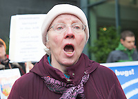 10/11/2014  Anti Water charges protestor  at the Radisson blu Galway where the Taoiseach attended a Chamber of Commerce event re the Port development. Photo:Andrew Downes