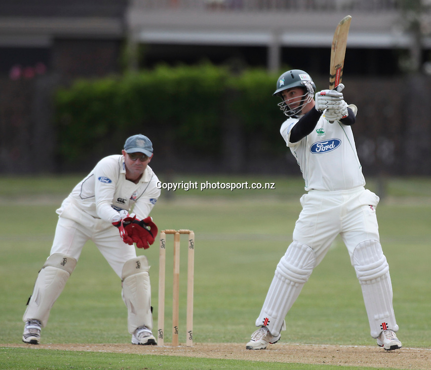 Stag's Matt Sinclair plays a shot in the Plunket Shield cricket match between the Central Districts Stags and the Auckland Aces at Nelson Park, Napier,  New Zealand. Sunday, 04 November, 2012. Photo: John Cowpland / photosport.co.nz