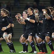 The All Blacks perform the Haka with Captain Richie McCaw (left) and Dan Carter, (centre left)  before the New Zealand V Fiji Rugby Union test match at Carisbrook, Dunedin. New Zealand. 22nd July 2011. Photo Tim Clayton