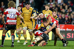 Marc Jones of Bristol Rugby is tackled - Rogan Thomson/JMP - 03/12/2016 - RUGBY UNION - Kingsholm Stadium - Gloucester, England - Gloucester Rugby v Bristol Rugby - Aviva Premiership.