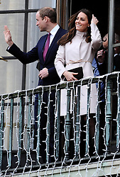 The Duke and  Duchess of Cambridge on the balcony of the Guildhall in Cambridge, Wednesday , 28th November 2012. .Photo by:  i-Images