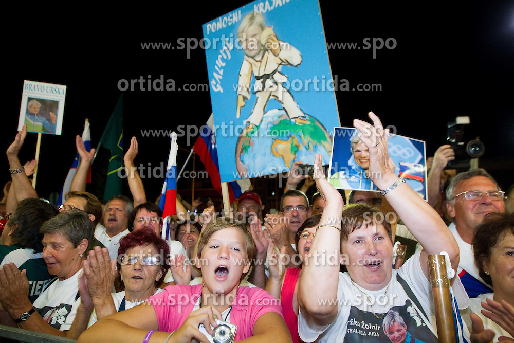 Fans of Urska Zolnir during reception of Slovenian Olympic team, on August 5, 2012 in Airport Joze Pucnik, Brnik, Slovenia. (Photo by Vid Ponikvar / Sportida.com)