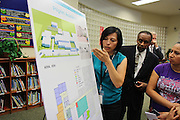 Pilgrim Academy stakeholders discuss preliminary plans for their school on Wednesday, Aug. 12, 2015, during the first bond community meeting.