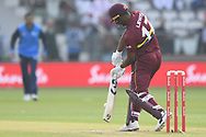 Evin Lewis of West Indies hits the first boundary of the match during the International Twenty/20 match at Lord's, London<br /> Picture by Simon Dael/Focus Images Ltd 07866 555979<br /> 31/05/2018
