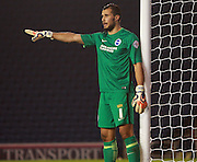 Brighton goalkeeper Niki Maenpaa during the Barclays U21 Premier League match between Brighton U21 and Arsenal U21 at the American Express Community Stadium, Brighton and Hove, England on 30 November 2015. Photo by Bennett Dean.