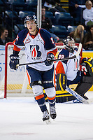 KELOWNA, CANADA - AUGUST 30:  Connor Clouston #25 of the Kamloops Blazers skates against the Kelowna Rockets on August 30, 2014 during pre-season at Prospera Place in Kelowna, British Columbia, Canada.   (Photo by Marissa Baecker/Shoot the Breeze)  *** Local Caption *** Connor Clouston;