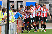 Danny Wright celebrates his goal during the Vanarama National League match between Torquay United and Cheltenham Town at Plainmoor, Torquay, England on 29 August 2015. Photo by Antony Thompson.