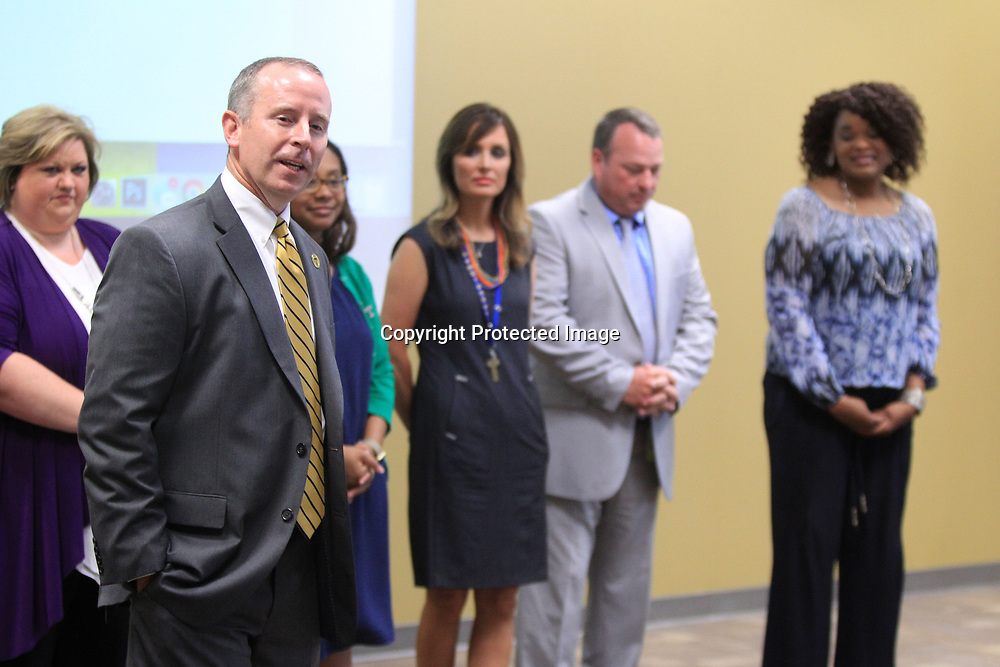 Art Dobbs, current Pierce Street Elementary School Principal, thanks the Tupelo Public School Board after being named the new principal at Tupelo High School at the Hancock Leadership Center on Tuesday.