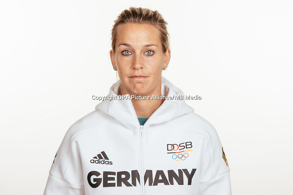 Lena Goeßling poses at a photocall during the preparations for the Olympic Games in Rio at the Emmich Cambrai Barracks in Hanover, Germany, taken on 15/07/16 | usage worldwide
