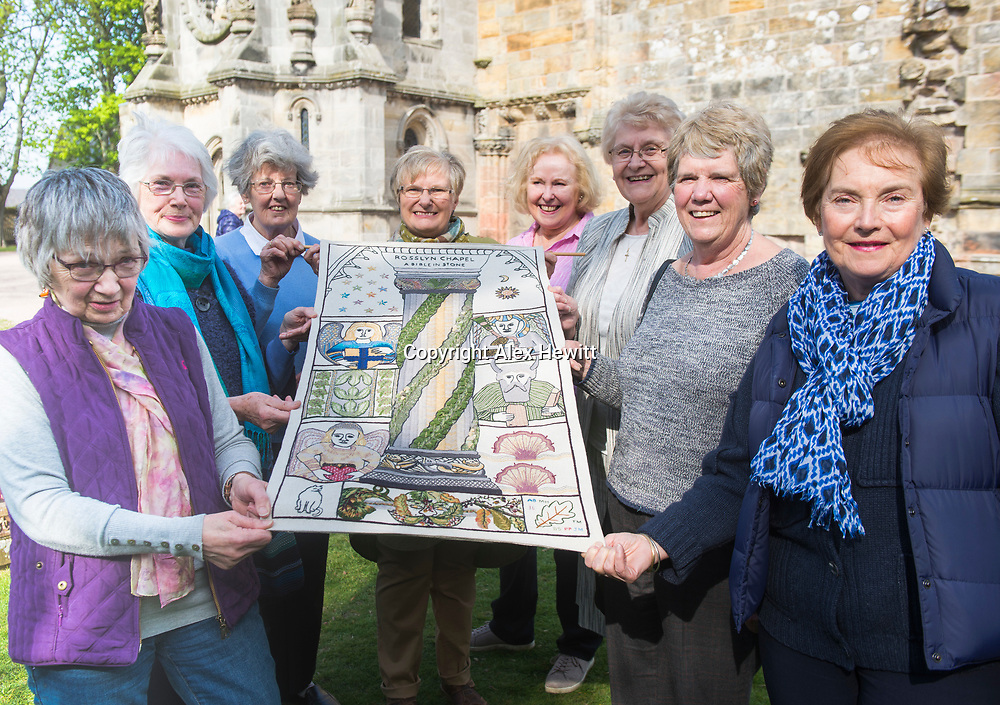 FREE PICTURE FOR GREAT TAPESTRY OF SCOTLAND PUBLICITY. TO ACCOMPANY PRESS RELEASE.<br /> <br /> The Roslin stitching group of the Great Tapestry of Scotland showcase the replacement for the Rosslyn chapel panel that was stolen in September 2015<br /> <br /> l-r<br /> Barbara Stokes, Jean Lindsay, Jinty Murray, Fiona Macintosh, Dorie Wilkie, Pip Peat, Margaret Humphries, Anne Beedie<br /> <br /> picture by Alex Hewitt<br /> alex.hewitt@gmail.com<br /> 07789 871 540