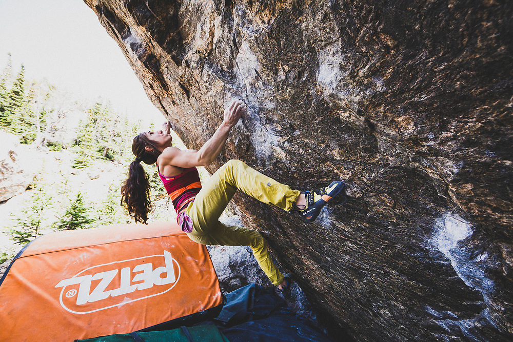 Alex Puccio bouldering on the Centaur Boulder, Lower Chaos Canyon, RMNP.