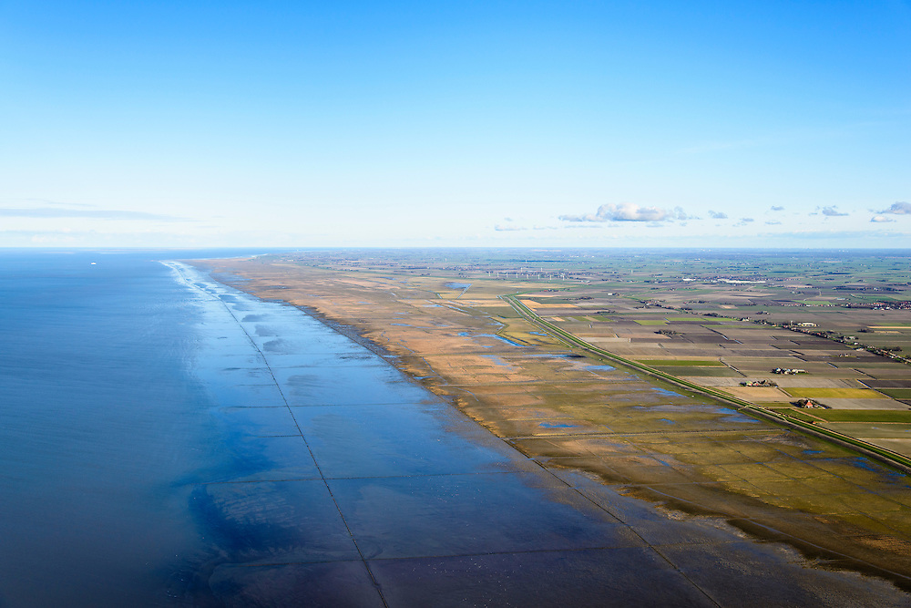 Nederland, Friesland, Gemeente het Bildt, 28-02-2016; Zeedijk en landaanwinning, het Friesche Wad bij hoogwater, ter hoogte van Zwarte Haan. <br /> Fries Wad, northern Friesland, tidal flat.<br /> <br /> luchtfoto (toeslag op standard tarieven);<br /> aerial photo (additional fee required);<br /> copyright foto/photo Siebe Swart