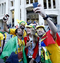 June 14, 2018 - Moscow, Russia - Group A Russia v Saudi Arabia - FIFA World Cup Russia 2018.Brazilian and russian fans taking a selfie at Luzhniki Stadium in Moscow, Russia on June 14, 2018. (Credit Image: © Matteo Ciambelli/NurPhoto via ZUMA Press)