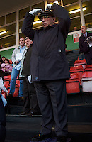 London, England, April 2007. Walthamstow stadium.Tic-Tac man.