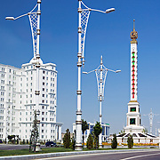 Streets of Ashgabat, Turkmenistan, lined with gleaming Italian white marble buildings