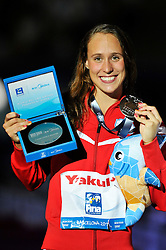02.08.2013, Barcelona, ESP, FINA, Weltmeisterschaften für Wassersport, Medailliengewinner, im Bild Rikke Moller Pedersen, from Denmark, silver medal at 200m Breastrocke Women Finalist Victory Ceremony // during the FINA worldchampionship of waterpolo, medalists in Barcelona, Spain on 2013/08/02. EXPA Pictures © 2013, PhotoCredit: EXPA/ Pixsell/ HaloPix<br /> <br /> ***** ATTENTION - for AUT, SLO, SUI, ITA, FRA only *****