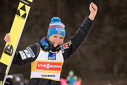 February 8, 2019 - Maren Lundby of Norway on podium celebrates her victory at first competition day of the FIS Ski Jumping World Cup Ladies Ljubno on February 8, 2019 in Ljubno, Slovenia. (Credit Image: © Rok Rakun/Pacific Press via ZUMA Wire)