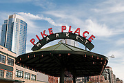 A Seattle picture showing the sign for the Pike Place Market.