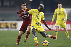 February 8, 2019 - Verona, vr, Italia - Foto Paola Garbuio/LaPresse.08 febbraio 2019 Verona, Italia.sport.calcio.Chievo Verona  vs Roma- Campionato di calcio Serie A TIM 2018/2019 - stadio Bentegodi.Nella foto: diousse,florenzi..Photo Paola Garbuio/LaPresse.february  08, 2019 Verona, Italy.sport.soccer.Chievo Verona  vs Roma  - Italian Football Championship League A TIM 2018/2019 -  stadio Bentegodi..In the pic:diousse,florenzi (Credit Image: © Paola Garbuio/Lapresse via ZUMA Press)