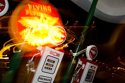 """""""Flying A Gasoline, Truckee"""" -This old service station is located in Downtown Truckee, CA. The effect was achieved by zooming the lens during a long exposure."""