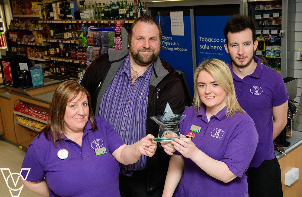Lincolnshire Co-operative's Celebrating Success Evening winners.  Skellingthorpe food store were winners of the Outstanding Customer Engagement Award.  Pictured is, from left, Debbie Hammond, manager James Bensley, Niaomi Dixon and Scott Dyer.<br /> <br /> Picture: Chris Vaughan Photography for Lincolnshire Co-op<br /> Date: April 24, 2017
