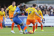 Karleigh Osborne of AFC Wimbledon and Garry Thompson of Wycombe Wanderers tussle during the Sky Bet League 2 match between AFC Wimbledon and Wycombe Wanderers at the Cherry Red Records Stadium, Kingston, England on 21 November 2015. Photo by Stuart Butcher.