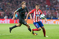 Atletico de Madrid's Angel Martin Correa and Chelsea's Marcos Alonso during UEFA Champions League match between Atletico de Madrid and Chelsea at Wanda Metropolitano in Madrid, Spain September 27, 2017. (ALTERPHOTOS/Borja B.Hojas)