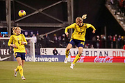Sweden defender Emma Kulberg (23) jumps for the ball during an international friendly women's soccer match against the United States, Thursday, Nov. 7, 2019, in Columbus, Ohio. USA defeated Sweden 3-2 . (Jason Whitman/Image of Sport)