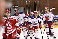 2020-02-12 | Ljungby, Sweden: Huddinge IK (9) Victor Andersson after scoring 1-1 during the game between IF Troja / Ljungby and Huddinge IK at Ljungby Arena ( Photo by: Fredrik Sten | Swe Press Photo )<br /> <br /> Keywords: Ljungby, Icehockey, HockeyEttan, Ljungby Arena, IF Troja / Ljungby, Huddinge IK, fsth200212, ATG HockeyEttan, Allettan