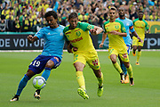 Luiz Gustavo Dias (Olympique de Marseille) and Emiliano SALA (FC Nantes) battled for the ball, Alexander KACANIKLIC (FC Nantes), Patrice Evra (Olympique de Marseille) during the French championship L1 football match between Nantes v Marseille, on August 12, 2017 at the Beaujoire stadium in Nantes, France - Photo Stephane Allaman / ProSportsImages / DPPI