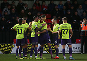 Exeter City's Ryan Bowman(12) celebrates his goa during the EFL Sky Bet League 2 match between Salford City and Exeter City at the Peninsula Stadium, Salford, United Kingdom on 14 December 2019.