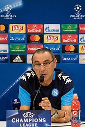 August 21, 2017 - Nice, France - Napoli's Italian coach Maurizio Sarri gives a press conference on August 21, 2017, at the Allianz Riviera stadium in Nice, southeastern France, on the eve of the UEFA Champions League play-off football match between Nice and Napoli. (Credit Image: © Paolo Manzo/NurPhoto via ZUMA Press)