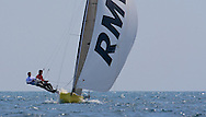 Alister Richardson and Dan Johnson sail downwind during the 2008 POW Race at Weymouth