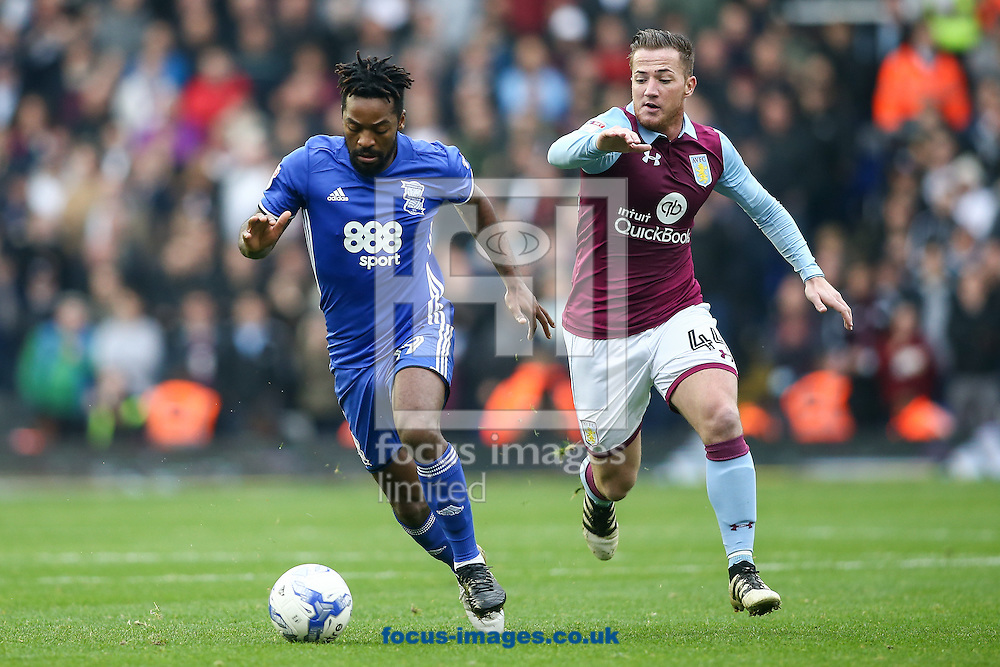 Jacques Maghoma of Birmingham City (left) gets away from Ross McCormack of Aston Villa (right) during the Sky Bet Championship match at St Andrews, Birmingham<br /> Picture by Andy Kearns/Focus Images Ltd 0781 864 4264<br /> 30/10/2016