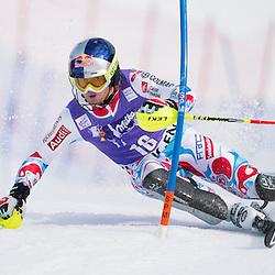 France's Alexis Pinturault on his way to win an alpine ski, men's World Cup slalom, in Wengen, Switzerland, Sunday, Jan. 19, 2014