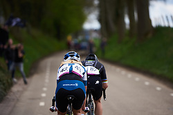 Lotta Lepistö (FIN) and Giorgia Bronzini (ITA) work together to close the gap on the final lap at Amstel Gold Race - Ladies Edition 2018, a 116.9 km road race from Maastricht to Berg en Terblijt on April 15, 2018. Photo by Sean Robinson/Velofocus.com