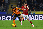 Hull City defender Fikayo Tomori (29) and Bristol City midfielder Callum O'Dowda (11)during the EFL Sky Bet Championship match between Hull City and Bristol City at the KCOM Stadium, Kingston upon Hull, England on 25 November 2017. Photo by Ian Lyall.