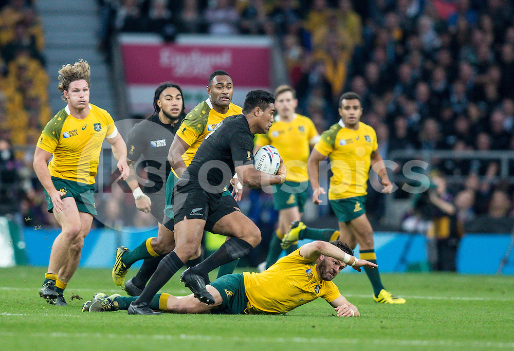 Julian Savea of New Zealand during the Rugby World Cup Final match between New Zealand and Australia played at Twickenham Stadium, London on the 31st of October 2015. Photo by Liam McAvoy