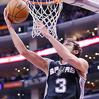 18 February 2014: San Antonio Spurs shooting guard Marco Belinelli (3) goes for the reverse layup during the San Antonio Spurs 113-103 victory over the Los Angeles Clippers at the Staples Center, Los Angeles, California, USA.