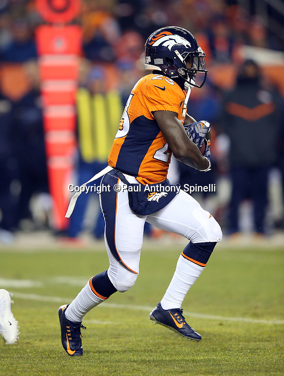 Denver Broncos running back Ronnie Hillman (23) runs the ball in the first quarter during the 2015 NFL week 16 regular season football game against the Cincinnati Bengals on Monday, Dec. 28, 2015 in Denver. The Broncos won the game in overtime 20-17. (©Paul Anthony Spinelli)