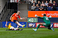 Mark Cullen of Luton Town (2nd left) has a shot saved by Jordan Archer of Northampton Town (right) during the Sky Bet League 2 match at Kenilworth Road, Luton<br /> Picture by David Horn/Focus Images Ltd +44 7545 970036<br /> 25/10/2014