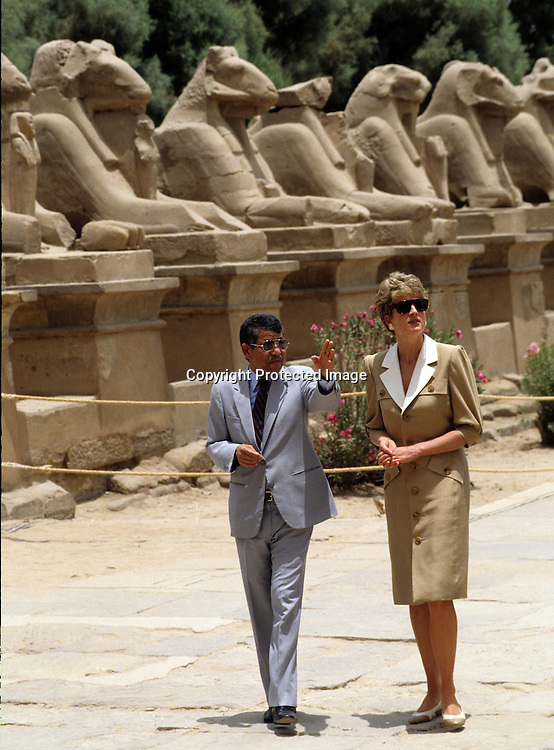 Diana, Princess of Wales visits the Valley of the Kings during her visit to Egypt on May 14, 1992.<br />Photo:  Anwar Hussein