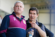 Aston Villa manager Steve Bruce and Burton Albion manager Nigel Clough during the EFL Sky Bet Championship match between Burton Albion and Aston Villa at the Pirelli Stadium, Burton upon Trent, England on 8 April 2017. Photo by Richard Holmes.
