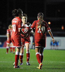 Bristol Academy Womens' Natasha Harding is congratulated by Bristol Academy Womens' Laura Del Rio Garcia after winning a penalty - Photo mandatory by-line: Dougie Allward/JMP - Mobile: 07966 386802 - 13/11/2014 - SPORT - Football - Bristol - Ashton Gate - Bristol Academy Womens FC v FC Barcelona - Women's Champions League
